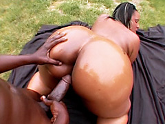 Horny black babe gets her ass wet and fucked. Crystal Clear