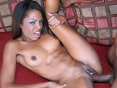 Lusty black babe spreads her cunt and gets rough fucked. Dena Caly