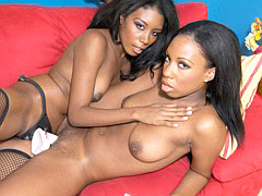 Chocolate colored girls fucking each other with sex toys. Mahlia Milian & Monica Foster
