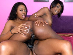 Horny black lesbians fucking with a big black strap-on. Taylor Starr & Aryana Starr