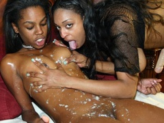 Two ebony lesbians get dirty then get each other off. Carmen Hayes & Dena Caly