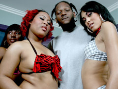 Two Black bitches get their pussies rocked by pimp!. Luscious Louis