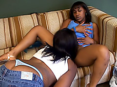 Black girls use a strapon on their twats. Aymee Austynn & Nikole Richie