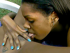 Ebony girls lick their wet black pussies. Dena Caly & Devine