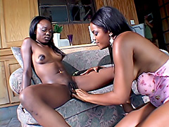 Black babe gets fucked by her girlfriend. Ashley Brooks & Anna Belle