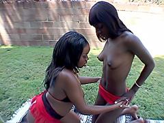 Black whores fucking each other's cunts. Skyy Black & Mocha Delite