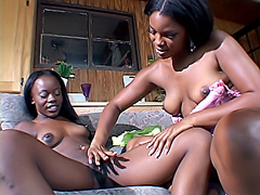 Hot black babes poke each other's twats. Ashley Brooks & Anna Belle