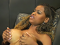 Black sluts fuck each other with dildos.
