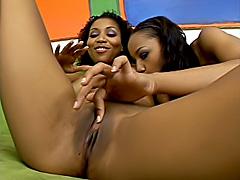Cute ebony lesbians dildo fucking