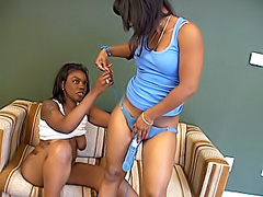 Strap-on dildo fills black chick's pussy. Aymee Austynn & Nikole Richie