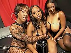 Tight black slits in lesbian threesome.
