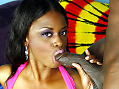 Curvy ebony girl with big tits getting fucked and jizzed on. Lola Lane