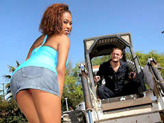 Watch hot round and brown babe get her pussy rocked by the construction worker in these hot..