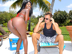Check this hot big booty ebony babe get fucked hard by the pool after a cock sucking in these..