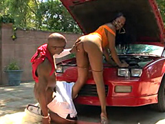 Watch is a good doggy style fuck. Essence take massive cock in her pussy in doggy style, near car.