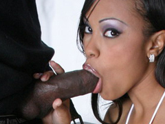 Lacey Duvalle exposes big black boobs and does fine blow job