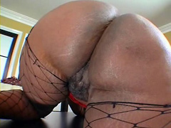 Black fatty Ms Townsend, fucked on table