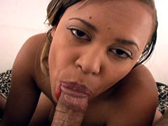 A sexy brown skinned amateur sucking schlong like a total pro