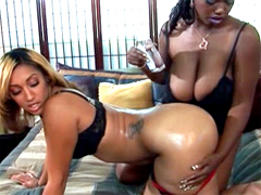Admire these big ass black lesbians Menage A Roz and Delotta Brown as they give each other a..