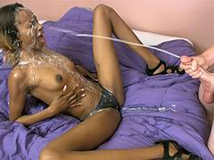 Bro covered her face and body completely with sticky jizz.