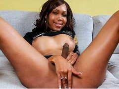 Beautiful black shemale star Jade gets naked