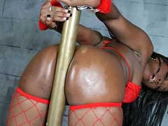 Big ass ebony girl strips and fucks at a party