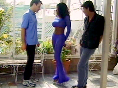 Busty babe Vanessa takes big white dicks on a verandah