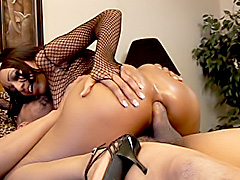 Black babe rides a big cock with her ass