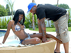 Black girl removes her nice bikini for a black dick fucking