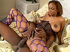 Black girl slides a cock into her butt