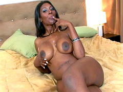 Nyomi Banxxx is covered by fresh sperm after hot anal pounding.