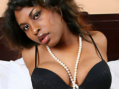 Black TGirl Katie Cokks jerking his cock