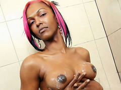 Black TGirl Precious sexy strip tease and shower videos