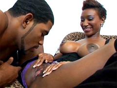 Hot ebony chick with a nice big tits and nipples that she loves to show off.
