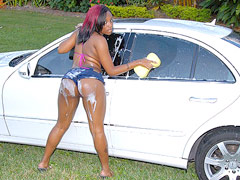 Check out this hot booty brown babe wash her car thenget her juicy wet puss rammed hard in these..