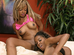 Beautiful ebony babes using their favorite toys to fill their hungry holes
