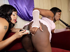 Two massive black BBWs pleasure each other on a couch in this hot girl on girl love scene. Both of..