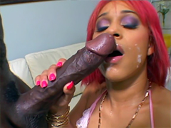 Cock-starved ebony slut named Pinky takes a monster size dick in her pussy