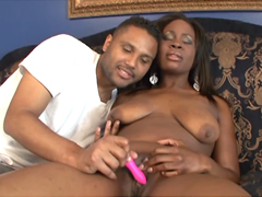 Cock-starved ebony woman named Ebony deep slurps thick man tool