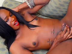 Cute, young petite black tgirl with long dick!
