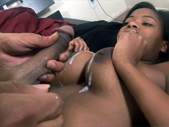 Slender ebony slut Amber Stars hard fucking and gets fresh cum on her perfect tits