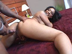 Perky ebony slut Jazmine Cashmere gets ass pounded by huge black dick, but she like this.