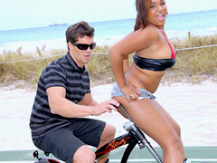Hot ass ebony bikini babe rides on the handlebars then gets her juicy box rammed and face jizzed..