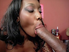Hot black mom gets a young cock fuck