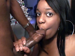 Perky ebony girl named Nivea first time swallow so huge massive dick, but she does it skillfully