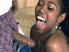 perky ebony bitch Delotta Brown happy, when gets massive stuff on throat