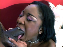 This perverse black whore Amile Waters in pink stockings deeply swallows fat man tool