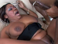 Perverse black whore Janet Jacme from top to toe gets many fresh cum