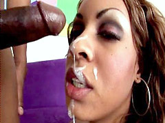 Sassy sista with a thick meaty ass rides a black bone
