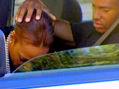Sex-starved black girl Arizona doing hot blowjob in car